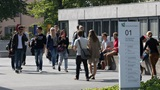Students on their way to the Main Building of the University of St.Gallen (HSG)